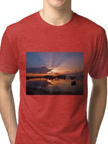 Boats in an amazing sunset Tri-blend T-Shirt