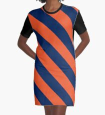 Diagonal Stripes: Orange & Navy Blue Graphic T-Shirt Dress