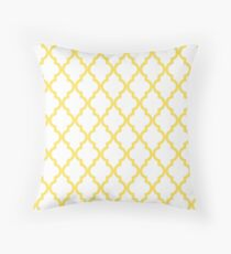 Canary Yellow Moroccan Quatrefoil Pattern Throw Pillow