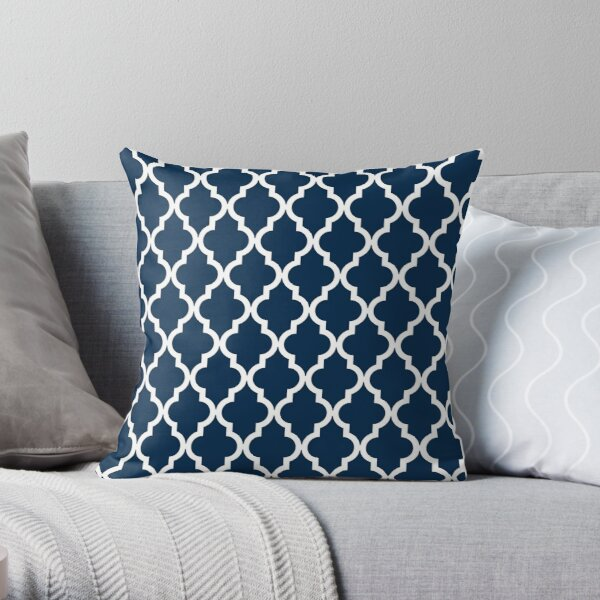 Navy Blue Moroccan Quatrefoil Design Throw Pillow