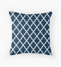 Navy Blue Moroccan Quatrefoil Design Throw Pillow