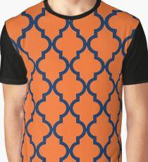 Moroccan Pattern: Navy Blue & Orange Graphic T-Shirt
