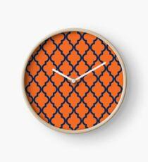 Moroccan Pattern: Navy Blue & Orange Clock