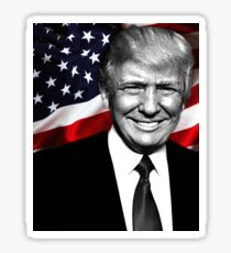 Black and white President Trump with flag Sticker