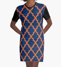 Moroccan Pattern: Orange & Navy Blue Graphic T-Shirt Dress