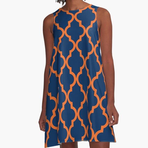 Moroccan Pattern: Orange & Navy Blue A-Line Dress
