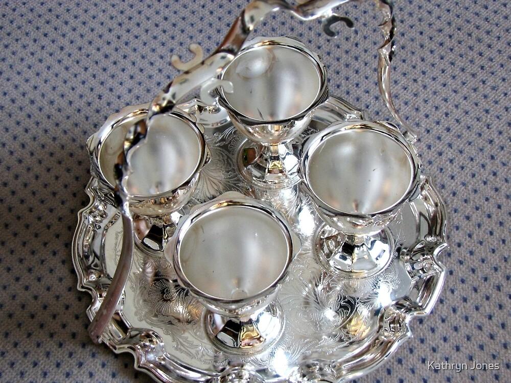 Four Silver Egg Cups by Kathryn Jones