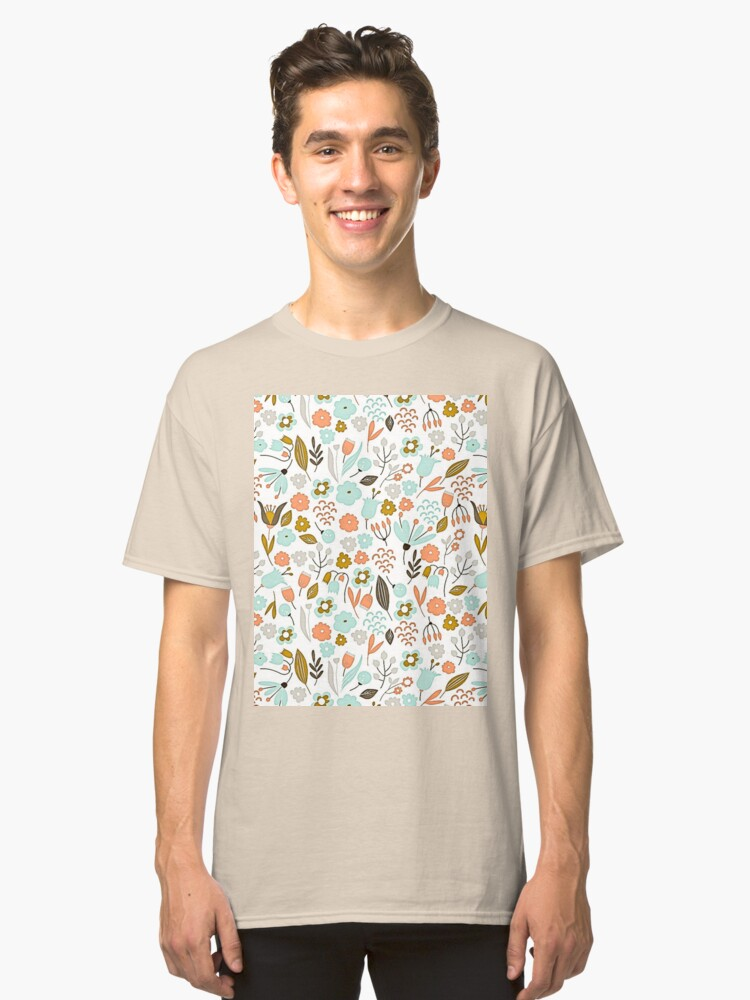 Hand Drawing Floral Pattern Classic T-Shirt Front