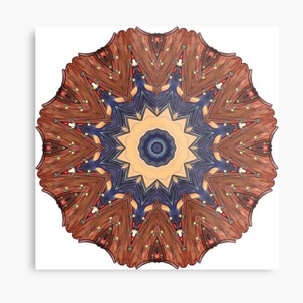 Brown Star Mandala Metal Print