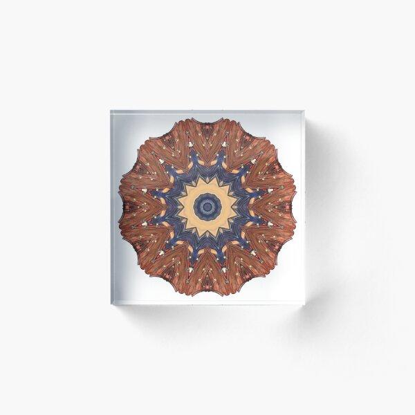 Brown Star Mandala Acrylic Block