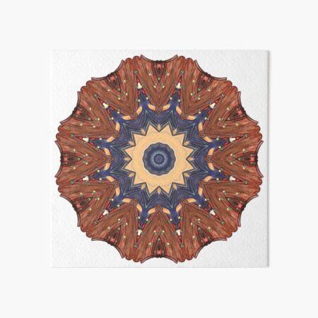 Brown Star Mandala Art Board Print