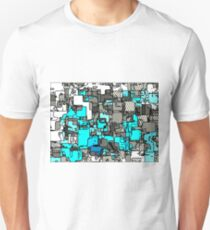 geometric graffiti square pattern abstract in blue white and black T-Shirt