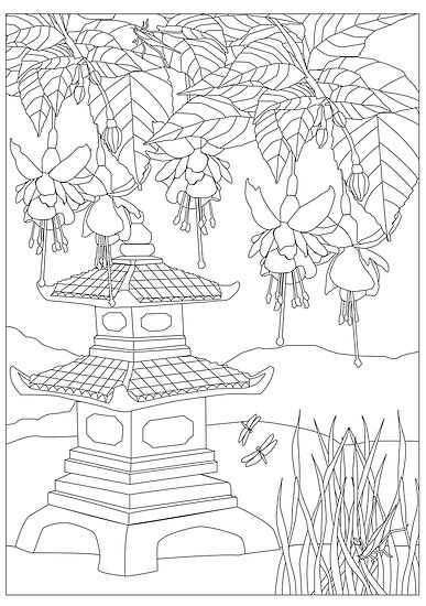 Pagoda Fuchsia Garden Scene With Lake And Dragonfly Colouring Poster