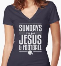 Sundays are for Jesus and Football Women's Fitted V-Neck T-Shirt