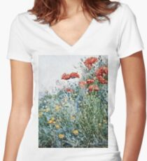 Childe Hassam - Poppies, Appledore Women's Fitted V-Neck T-Shirt