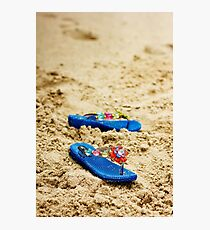 Beach flip flops on tropical sandy coast Photographic Print