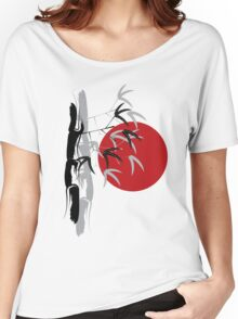 Oriental Zen Bamboo And Red Sunset Women's Relaxed Fit T-Shirt
