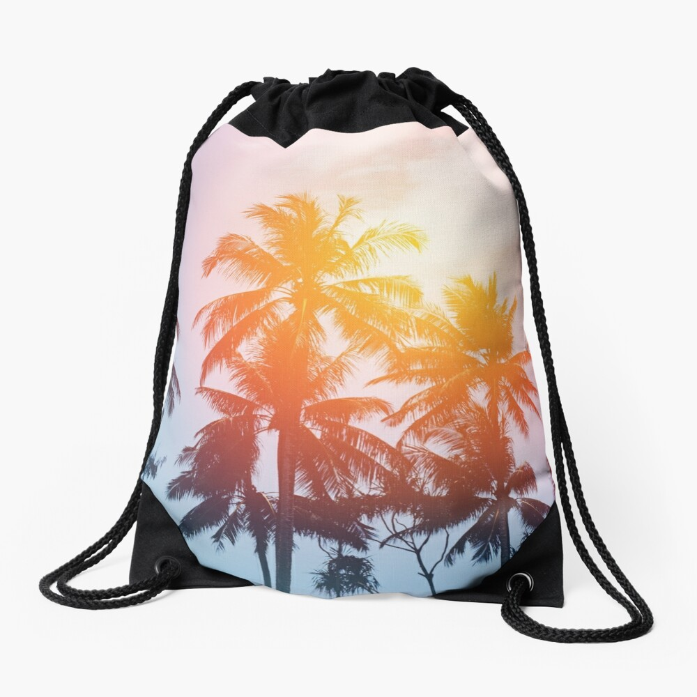 Beach sunset at the coast line Drawstring Bag