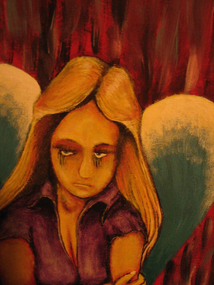Sulking Angel (acrylic,ink and wash) by RobBennett