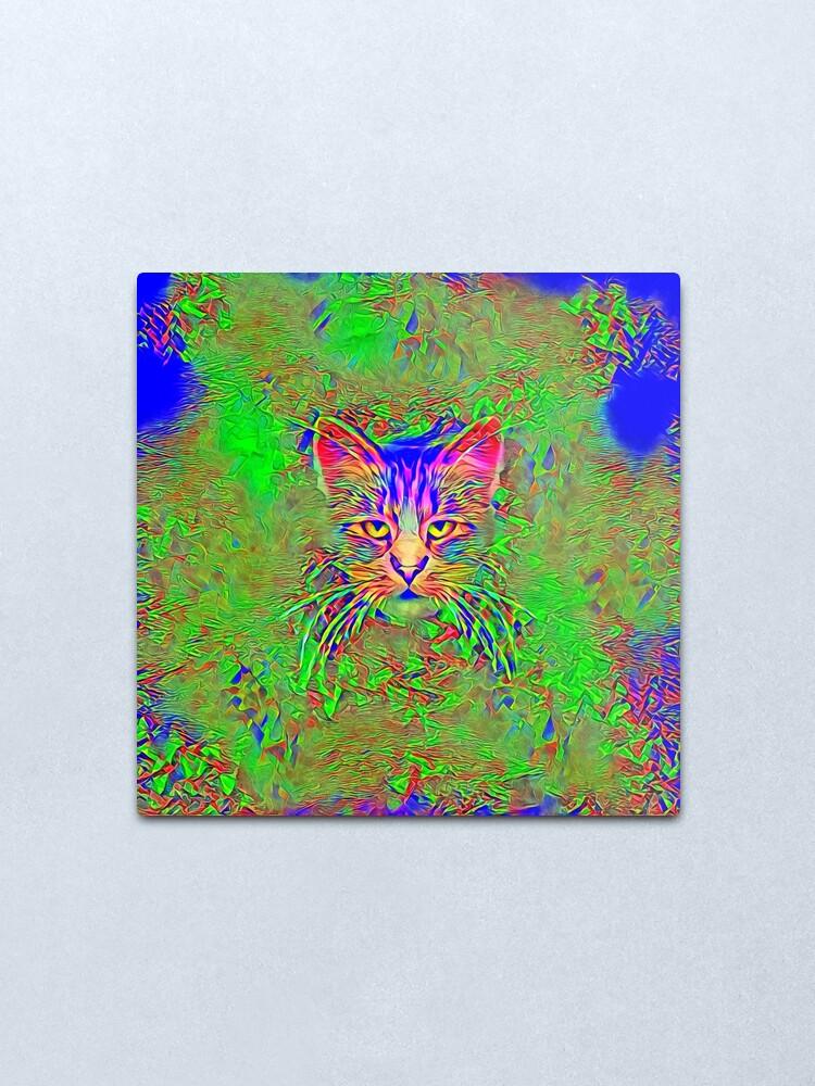 Alternate view of Polar aurora cat Metal Print
