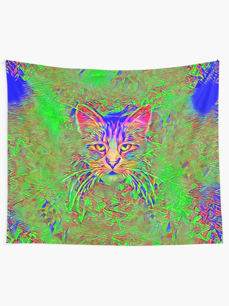 Alternate view of Polar aurora cat Wall Tapestry