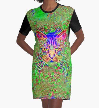 Polar aurora cat Graphic T-Shirt Dress