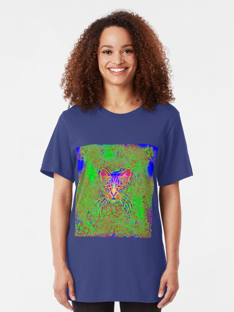 Alternate view of Polar aurora cat Slim Fit T-Shirt