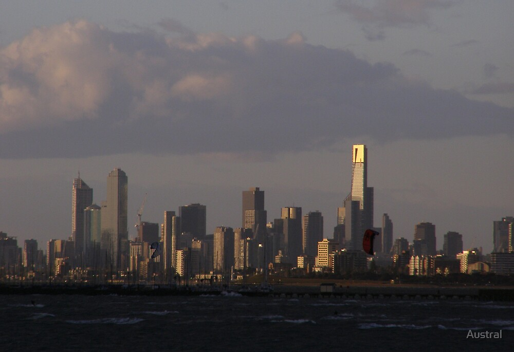 Melbourne Skyline at Dusk by Austral