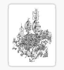 Steampunk Mushroom Airship Sticker