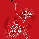 Oriental Black Swallows With Chinese Calligraphy 'Xin' (Heart) and White Dandelion Flower Blooms On Red by fatfatin