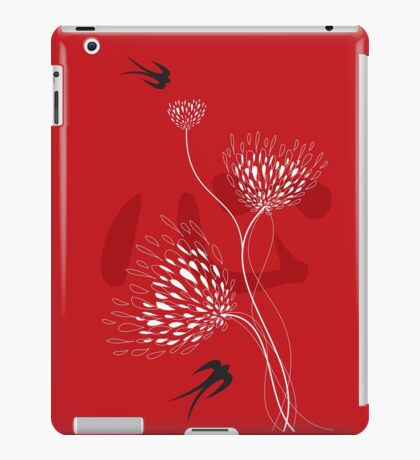 Oriental Black Swallows With Chinese Calligraphy 'Xin' (Heart) and White Dandelion Flower Blooms On Red iPad Case/Skin