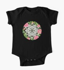 Peach Pink Roses and Mandalas on Black and White Lace One Piece - Short Sleeve