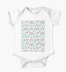 Pattern Hand Drawing Roses Leaves One Piece - Short Sleeve