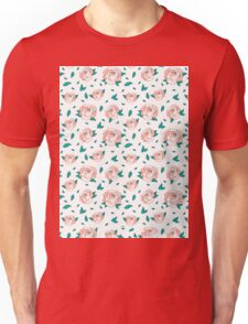 Pattern Hand Drawing Roses Leaves Unisex T-Shirt