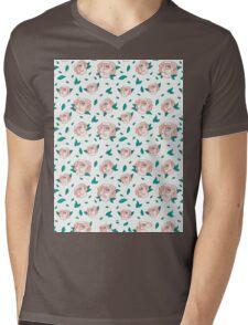 Pattern Hand Drawing Roses Leaves Mens V-Neck T-Shirt