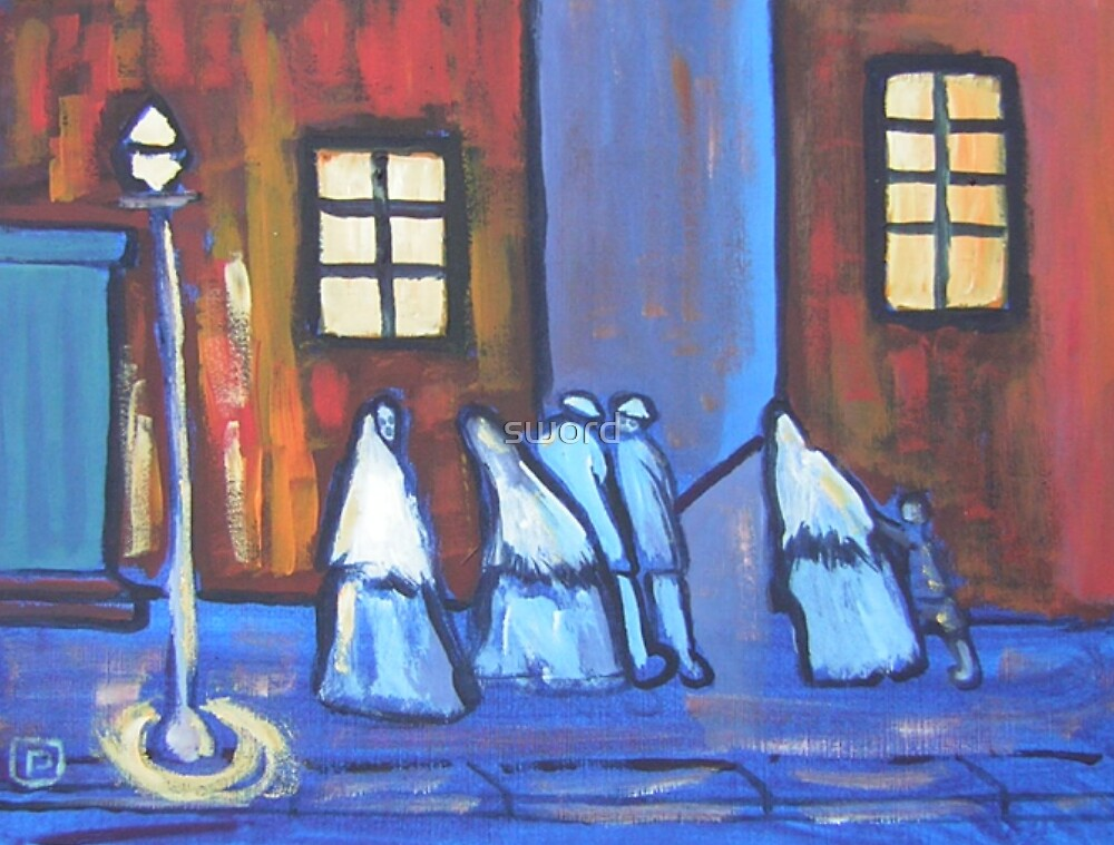 The gathering (from my original acrylic painting) by sword
