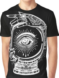 Magic Tattoo - Witch and Crystal Ball with Traditional Ornaments Graphic T-Shirt