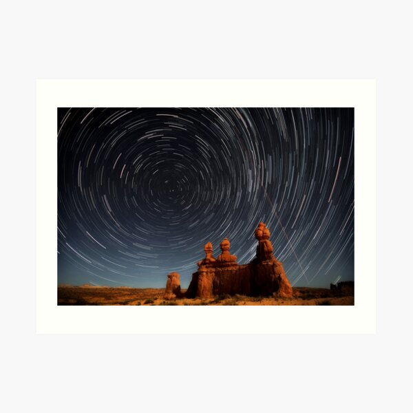 Star trails in Goblin valley Art Print