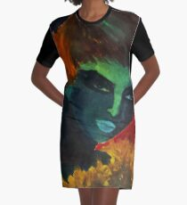 1960's girl painting in bride colors Graphic T-Shirt Dress