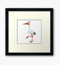Adorable cartoon stork Framed Print