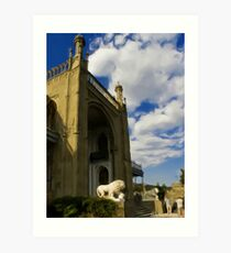 Lions at the entrance Art Print