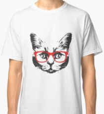 Portrait of Cat with glasses. Classic T-Shirt