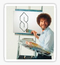 "Bob Ross Painting ""S"" meme Sticker"