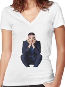 Jimmy with a Flower Crown pt. 2 Women's Fitted V-Neck T-Shirt