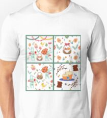 Happy Easter Set of Backgrounds and Elements - Rabbits, Eggs, Chicks, Flowers and Garlands T-Shirt