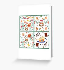 Happy Easter Set of Backgrounds and Elements - Rabbits, Eggs, Chicks, Flowers and Garlands Greeting Card
