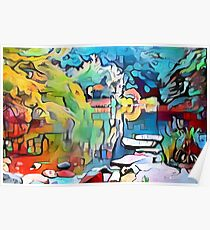 Abstract colorful graffiti pond Poster