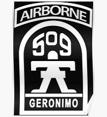 509th Infantry stencil white Poster