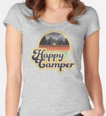 Happy Camper (Retro, 70s, Camping) Women's Fitted Scoop T-Shirt