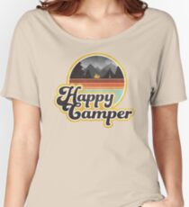 Happy Camper (Retro, 70s, Camping) Women's Relaxed Fit T-Shirt